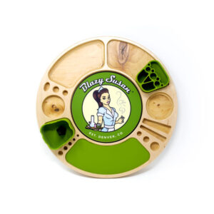 Birch Spinning Rolling Tray with Green Silicone Inserts